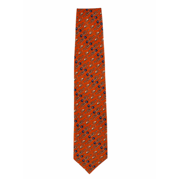 Red erskine pattern by George Jamesone silk tie