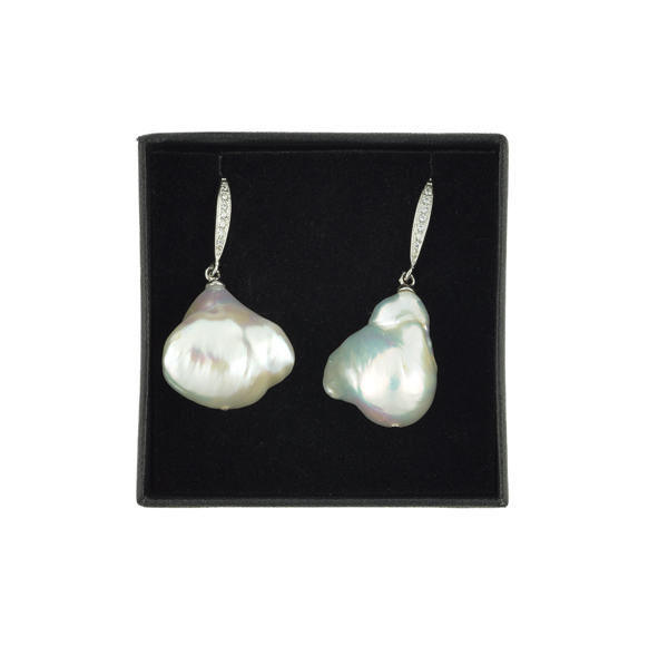White pearl cubic zirconium earrings