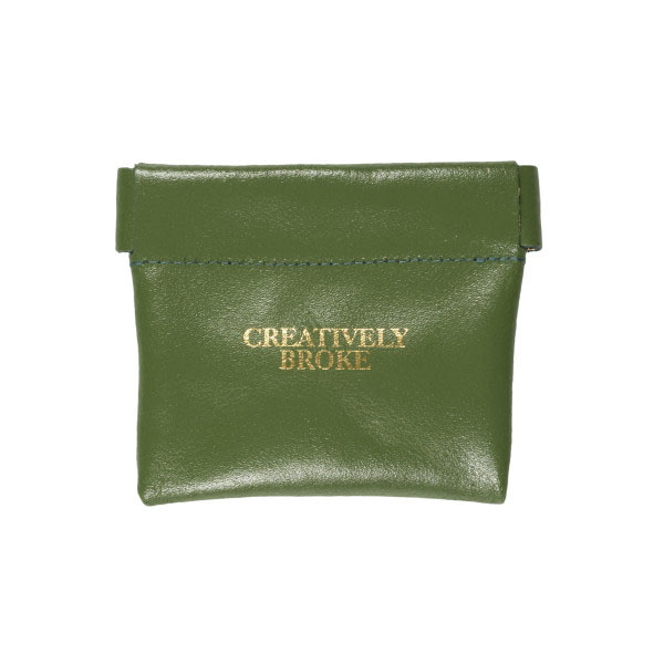 Ark Creatively Broke Green Leather Snap Purse