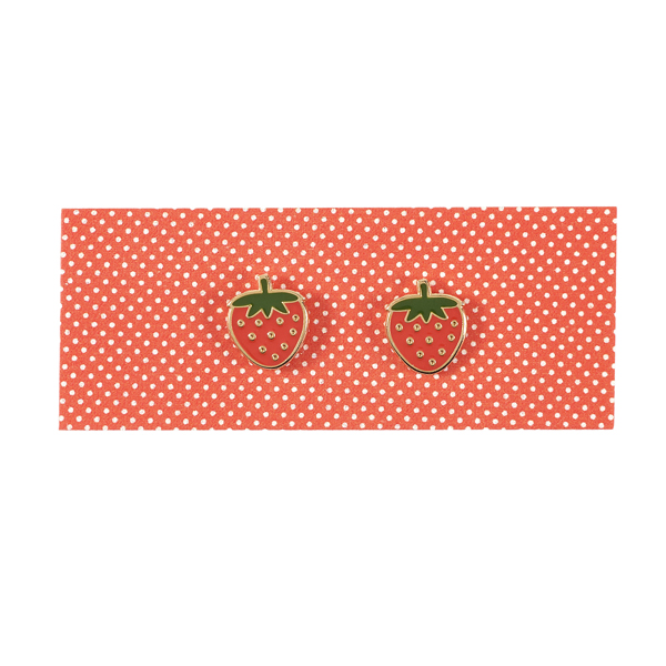 Acorn & Will Strawberry Enamel Earrings
