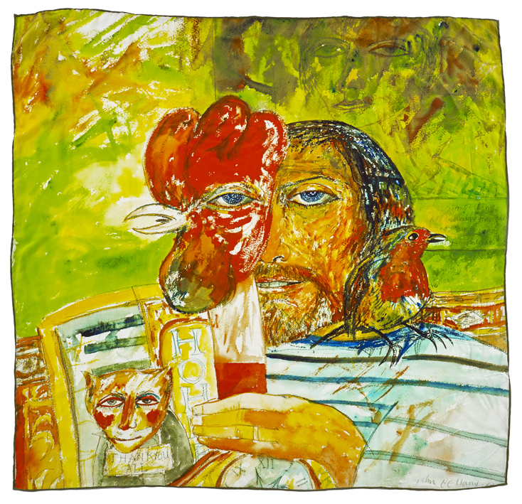 Self-portrait by John Bellany silk scarf