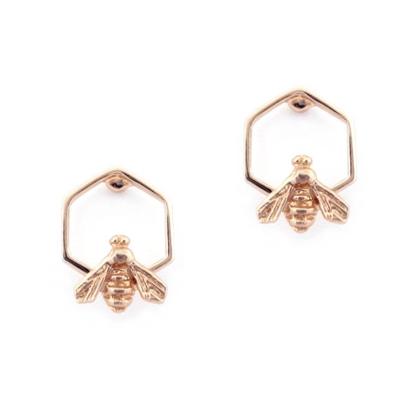 Bill Skinner Bee and Honeycomb Stud Earrings