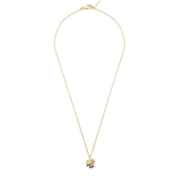 Butterfly floral cluster gold-plated pendant necklace