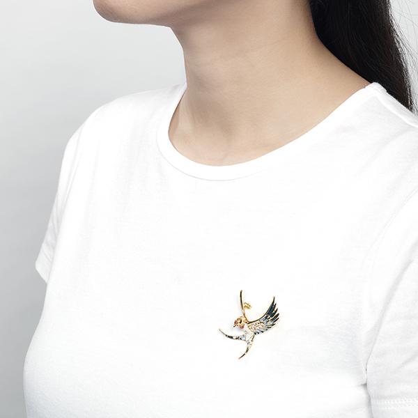 Hand painted enamel swallow brooch