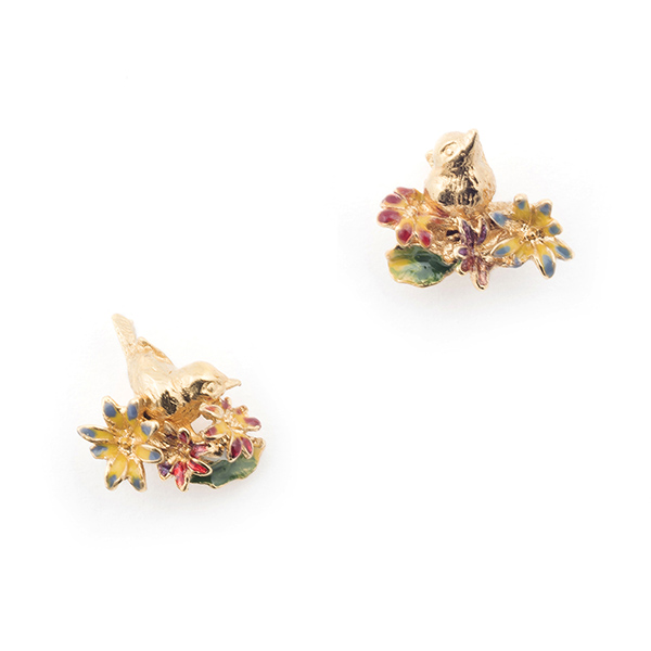 Bird and floral stud earrings