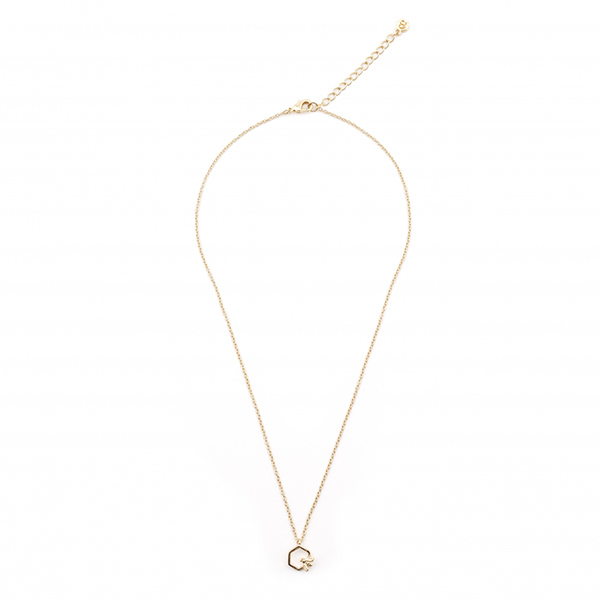 Mini bee hexagon gold-plated pendant necklace