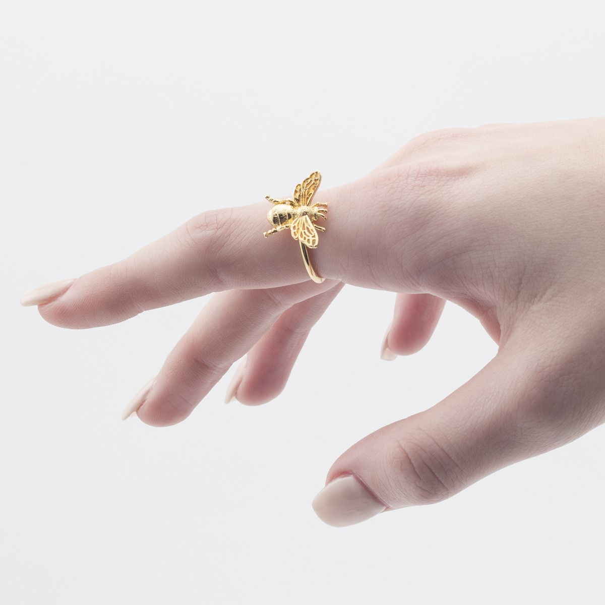 Queen bee gold-plated open ring