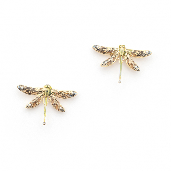 Dragonfly mini gold-plated stud earrings