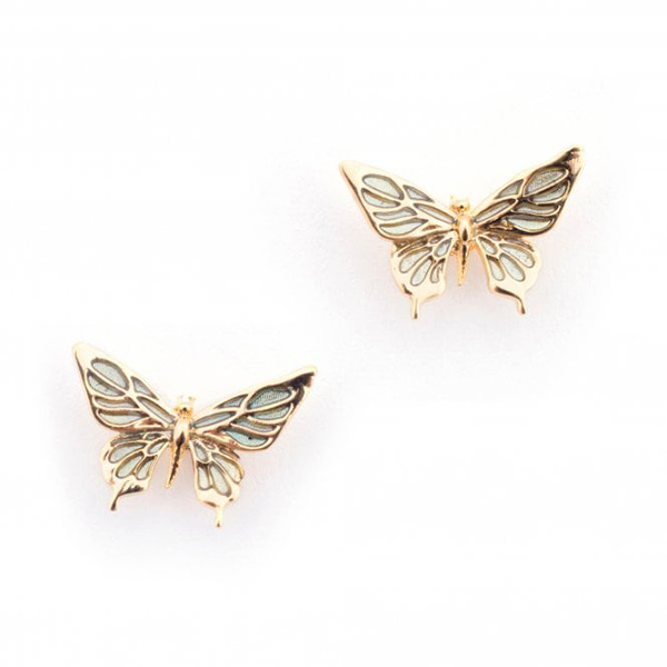 Butterfly tiny gold-plated stud earrings