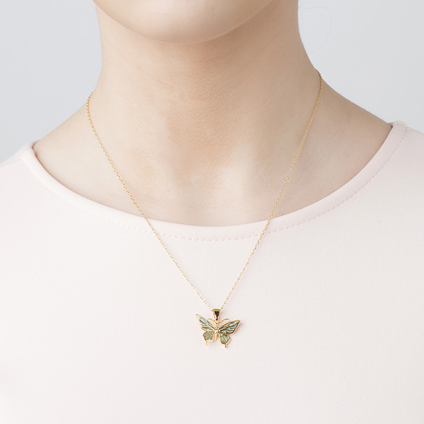 Butterfly mini gold-plated pendant necklace