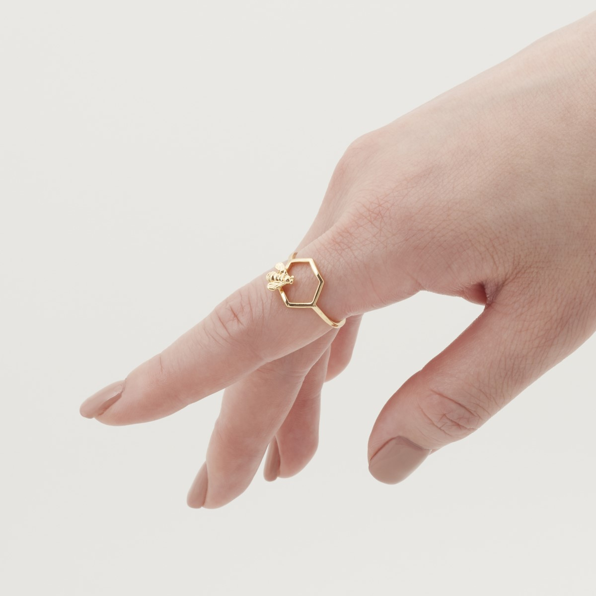 Bee & hexagon gold-plated open ring