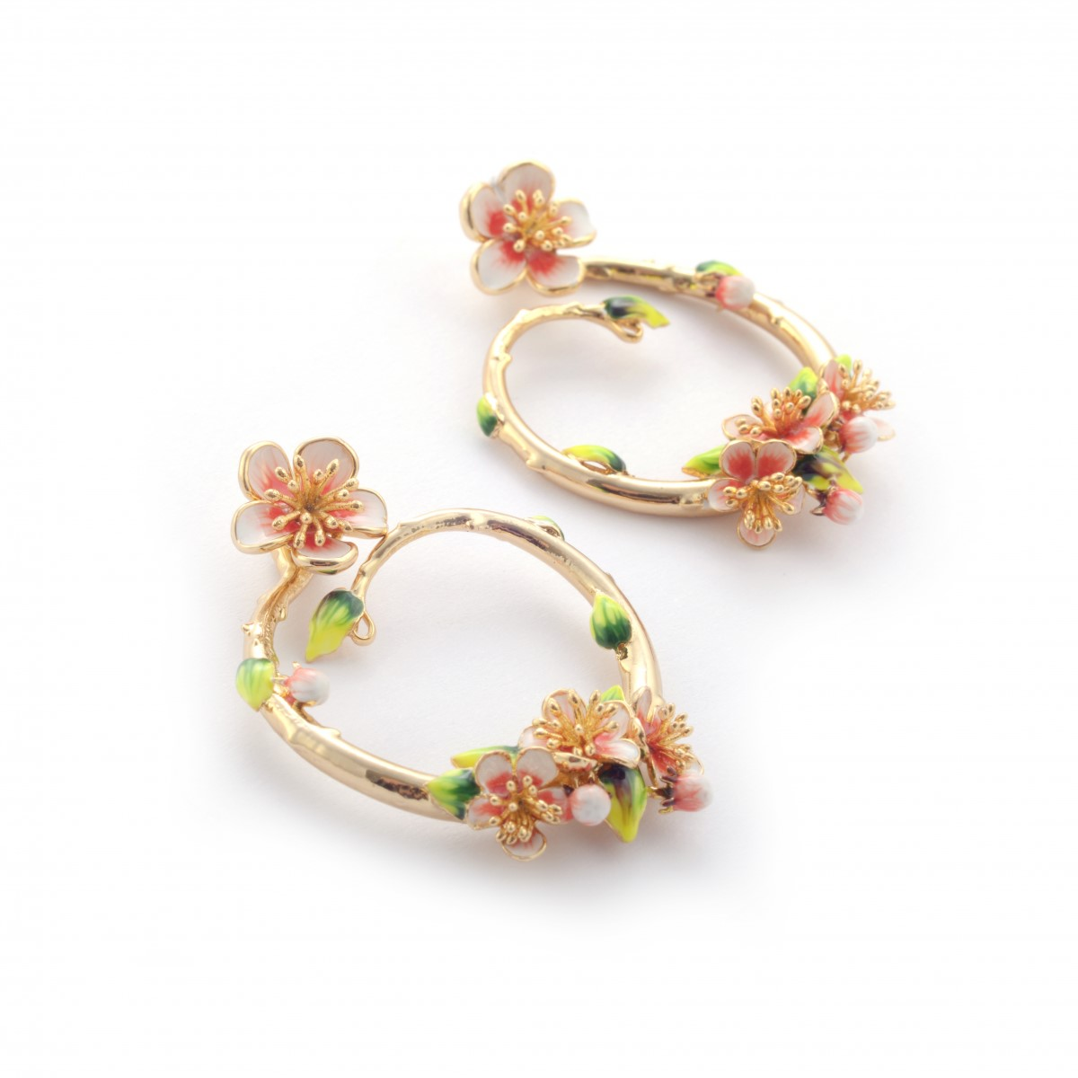 Apple blossom hoop gold-plated earrings