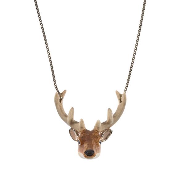 Stag head porcelain necklace