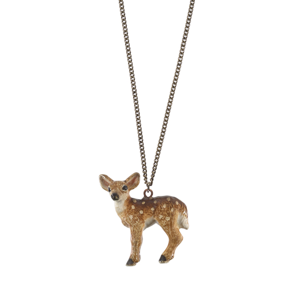 Bambi deer porcelain necklace