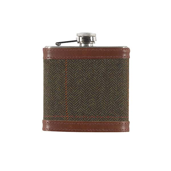 Borders Tweed dark brown hip flask gift set