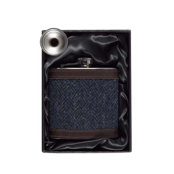 Blue Borders Tweed hip flask gift set
