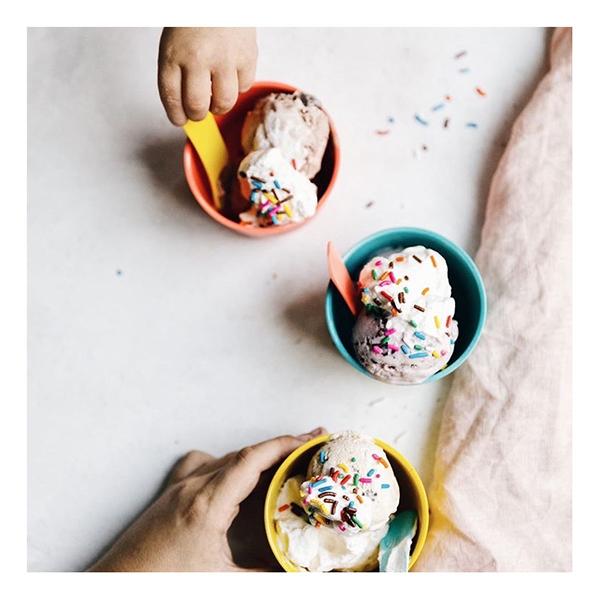 Bamboo fibre reusable kids multi coloured ice cream set