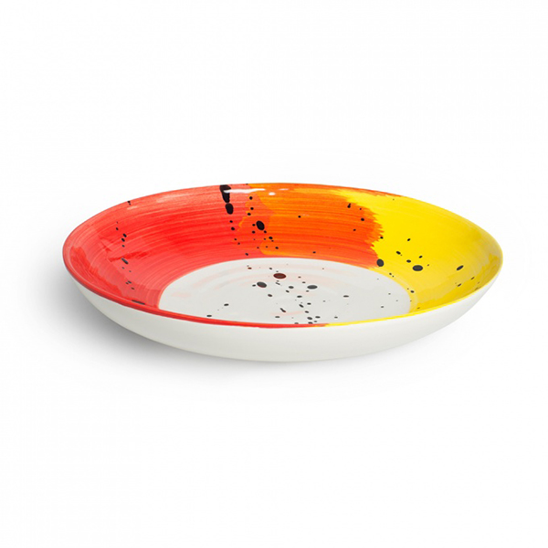 Swish brushstroke red and yellow earthenware supper bowl