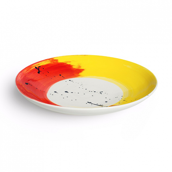 Swish brushstroke red and yellow earthenware serving bowl