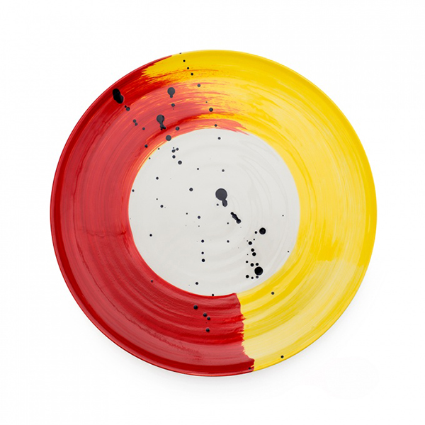 Swish brushstroke red and yellow earthenware serving platter