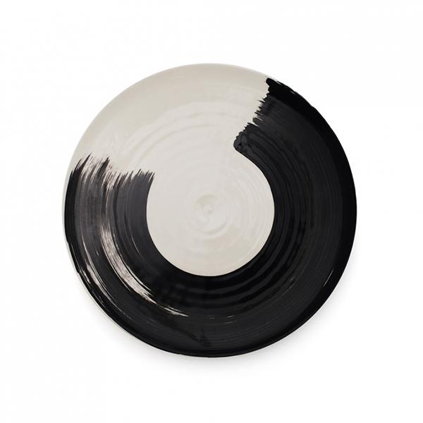 Swish brushstroke charcoal earthenware dinner plate