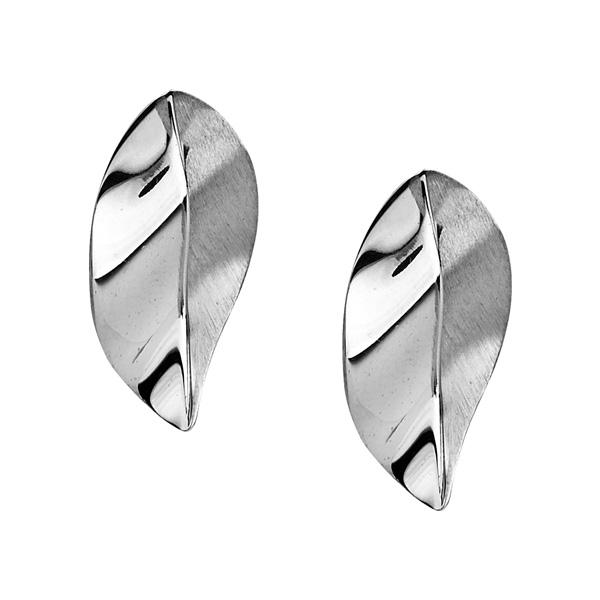 Leaf design silver stud earrings
