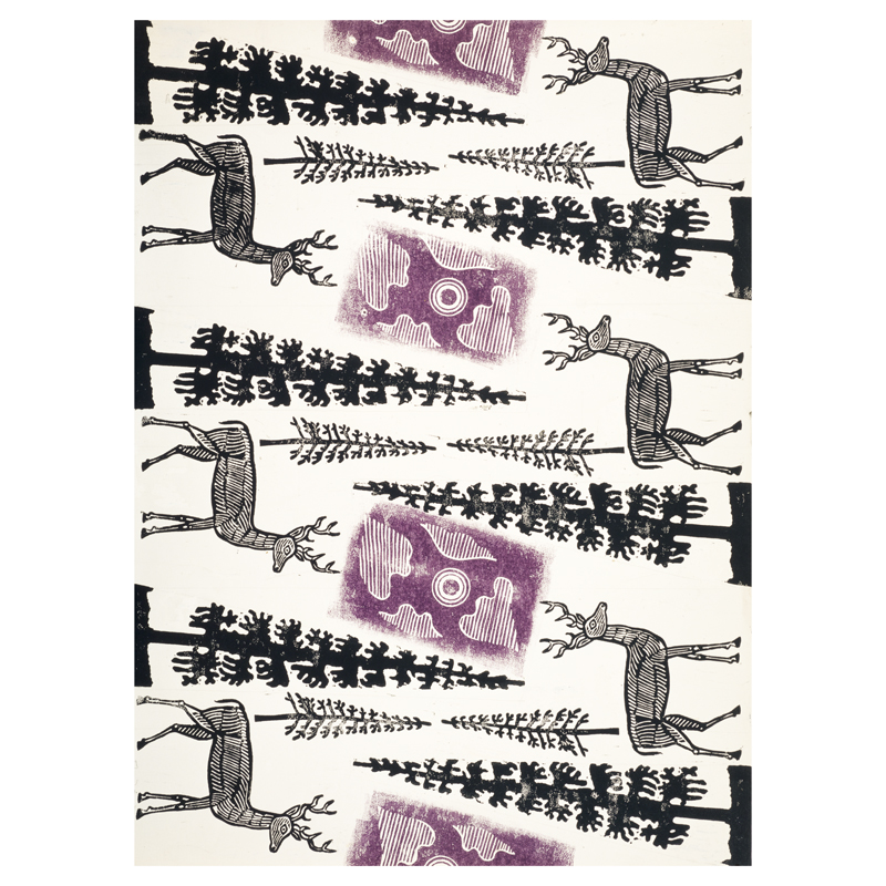 Design for Wrapping Paper (Deer and Trees) by Edward Bawden gift wrap (single sheet)
