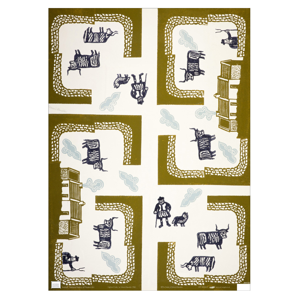 Design for Wrapping Paper (Farm with Highland Cattle) by Edward Bawden gift wrap (single sheet)
