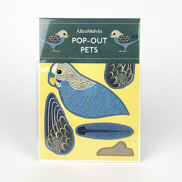 Budgie by Alice Melvin pop out greeting card