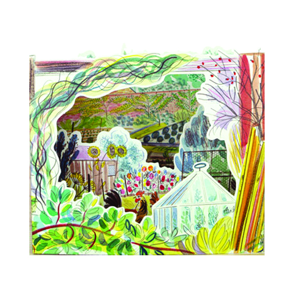 Allotment with chickens by Emily Sutton 3D greeting card