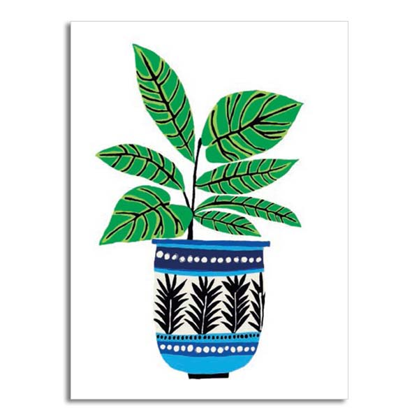 French pot plant greeting card