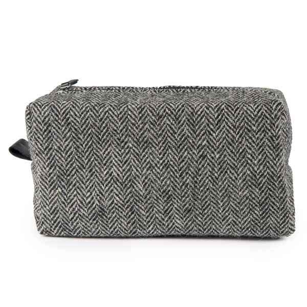 Clare O'Neill Washbag Dark Grey Harris Tweed