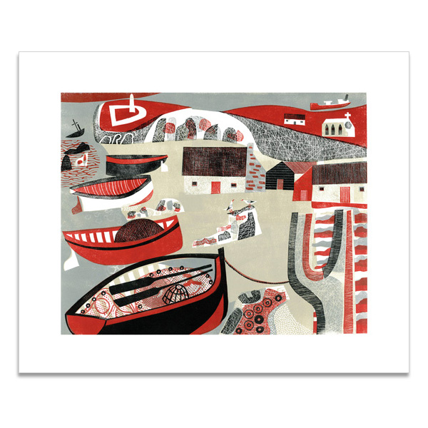 Boats, lighthouse and church greeting card