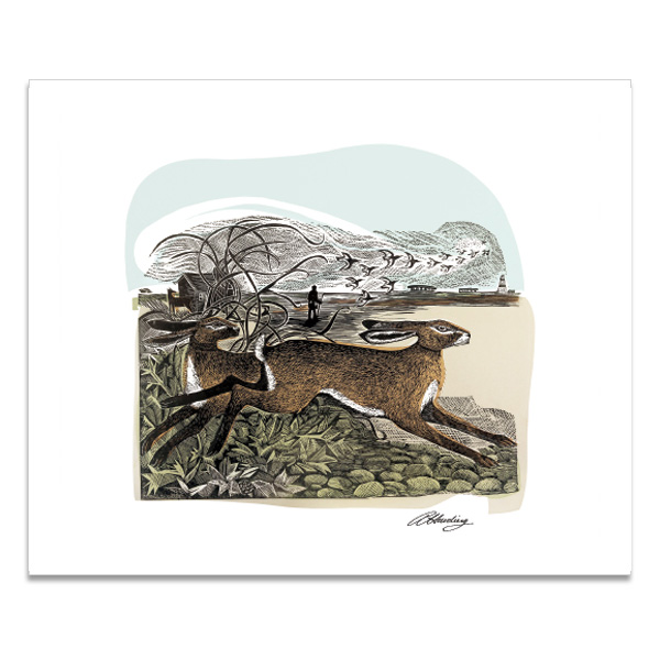 Hares at Orford Ness greeting card