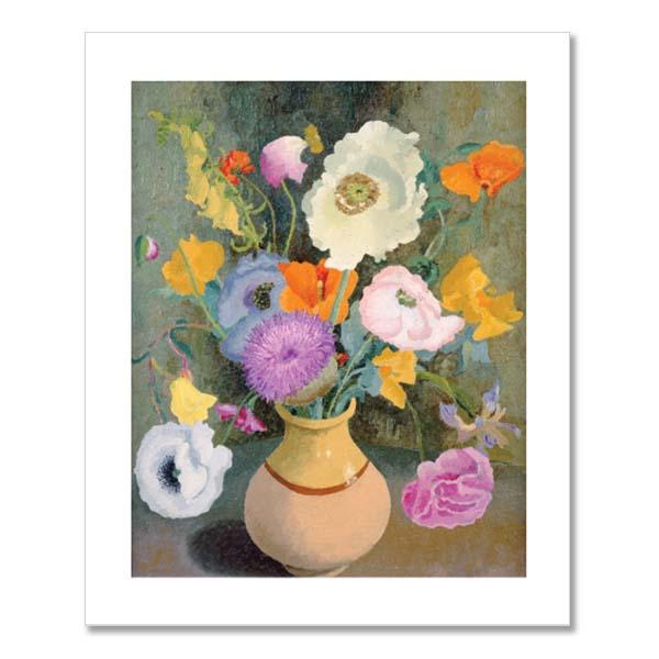 Poppies & sweet peas greeting card