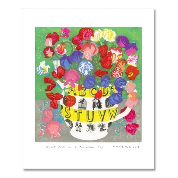 Sweet peas in ravilious jug greeting card