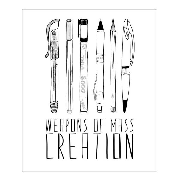 Weapons of mass creation (pens) greeting card
