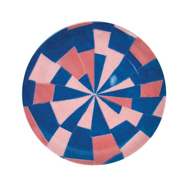 Pink and blue pattern by Louise Bourgeois china plate