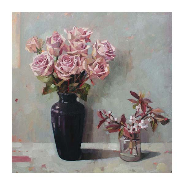 Roses and spring blossom greeting card