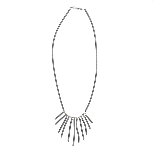Belle silver fringed long necklace