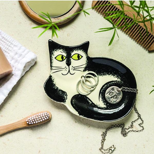 Black and white cat ceramic trinket dish