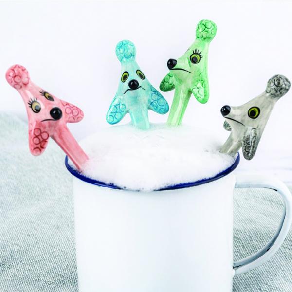 Poodle ceramic spoon set (4)