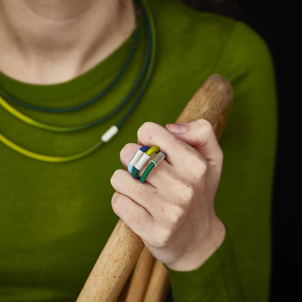 Sterling silver and hand dyed lime green elastic single loop ring