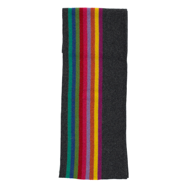 100% pure new wool Morris stripe charcoal scarf