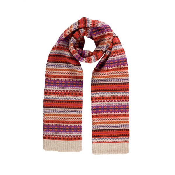 100% pure new wool Islay stripe pattern red and orange slim scarf