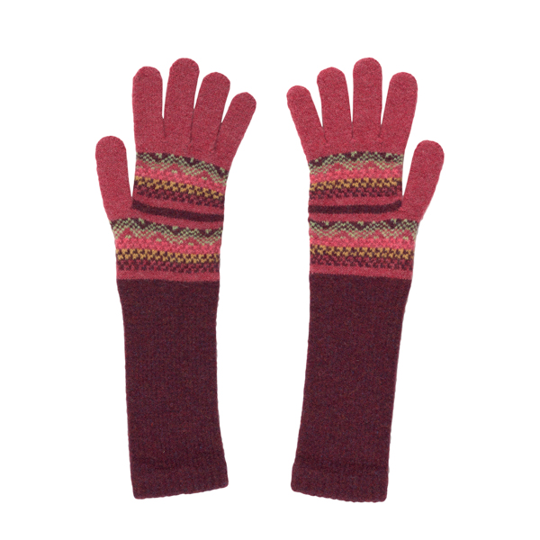 100% pure new wool Islay pattern deep red and pink gloves