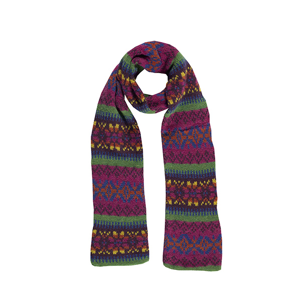 100% pure new wool Islay stripe pattern cornelian slim scarf
