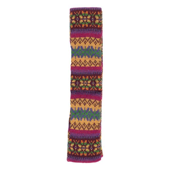 100% pure new wool Islay stripe pattern mustard and pink slim scarf