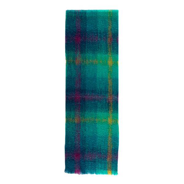 Luxurious mohair mosaic pattern viridian green scarf