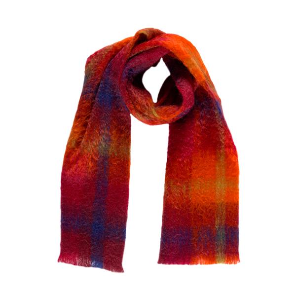 Luxurious mohair mosaic pattern orange scarf